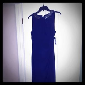 Navy Ralph Lauren evening gown /bead embroided